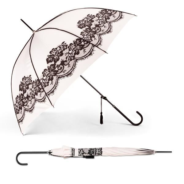 An intricate eyelash lace print adorns this feminine pink piped stick umbrella. Features push button automatic opening.