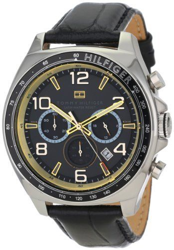 Tommy Hilfiger Men's 1790936 Sport Luxury Chronograph and Black Leather Strap Watch  #1790936 #Black #Chronograph #Hilfiger #Leather #Luxury #Men's #Sport #Strap #Tommy #Watch MonitorWatches.com