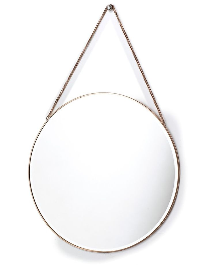 mirrordeco.com — Hanging Mirror on Chain - Round Copper Frame Dia:40cm
