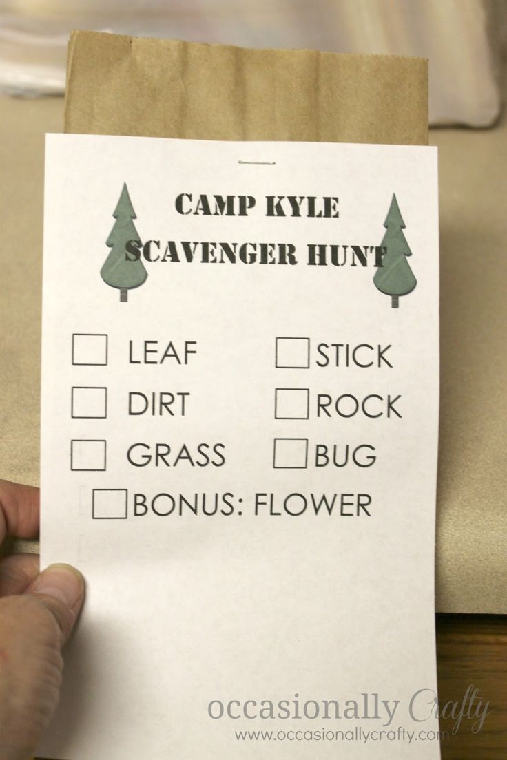 Camping Party Scavenger Hunt Checklist- a really fun party activity!