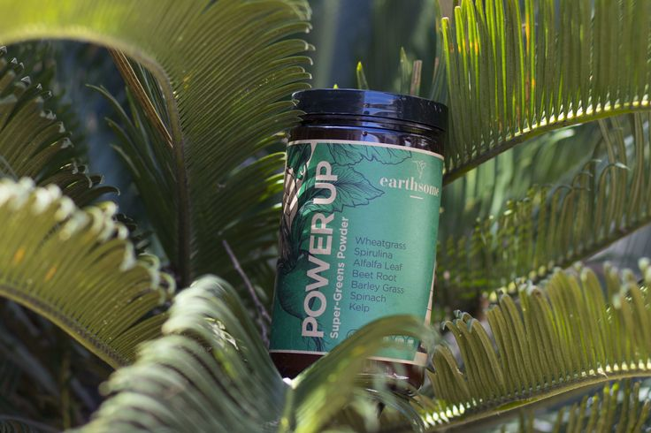 Earthsome Power Up Super-Greens Powder. 12 vital ingredients to nourish your body. Click image to visit Earthsome Shop.