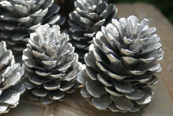 Silver Pinecones Natural Pinecones winter wedding by Teakberry