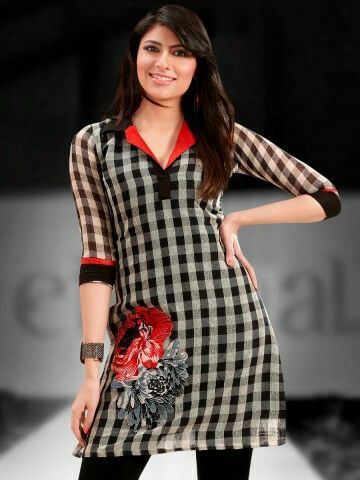 Graceful Flared Georgette short kurti with Stylish Embroidary patchwork