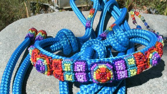 Beaded Rope Halter Horse Halter Horse Tack by HorsetailsBeadwork, $177.00