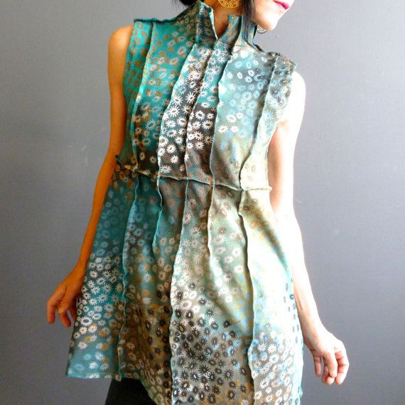 Botanical Empire Tunic Handmade Jersey Top Hand by iheartfink