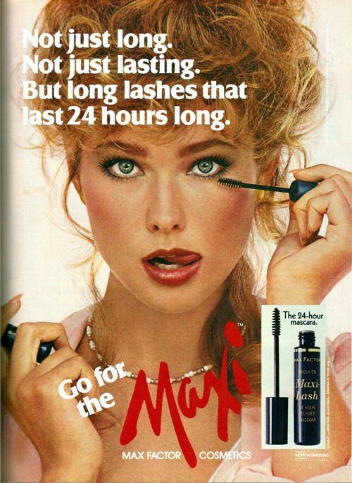 max factor ad model nancy deweir 80s makeup