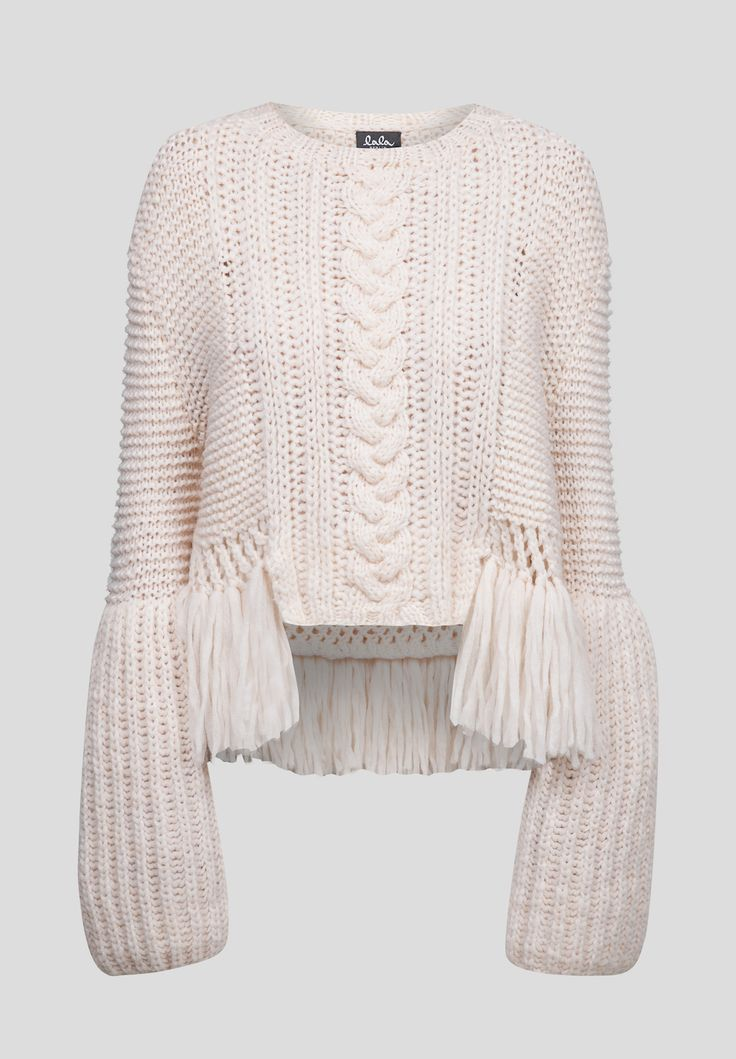 Jumper Vanda, Light #lalaberlin #lanagrossa #lala #berlin #lana #grossa #jumper #doityourself #madebyme #autumn #winter #aw16, fringe and cabled sweater