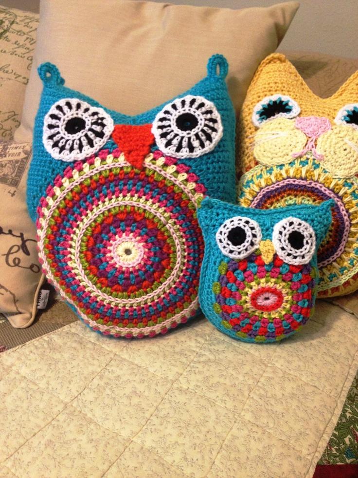 Hoot Owl amigurumi pillow or baby toy cushion novelty pillow. $34.00, via Etsy.