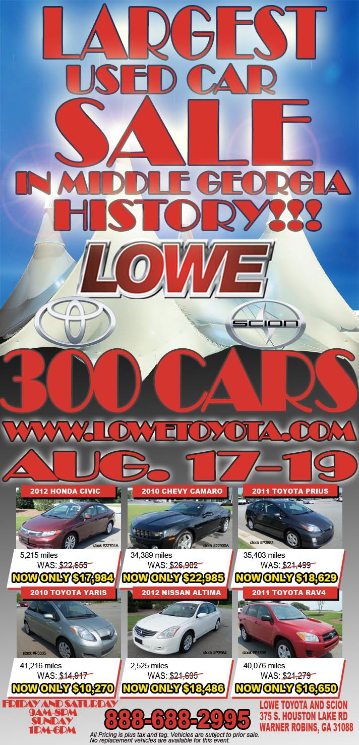 Today is the start of our historic used car sale here at lowe toyota we
