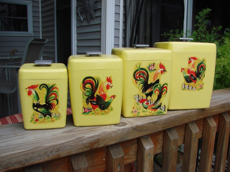 Vintage Era Sunny Yellow Plastic Canister Set With Rooster Chicken Decals.