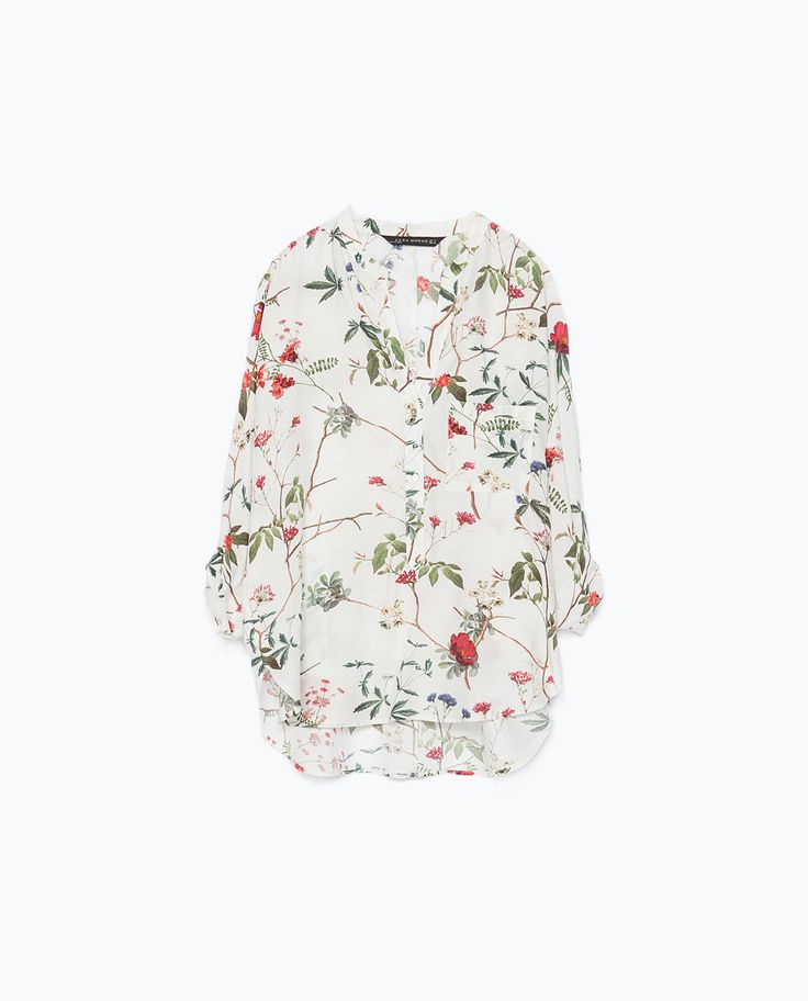 Image 8 of PRINT TOP WITH UNEVEN HEM from Zara