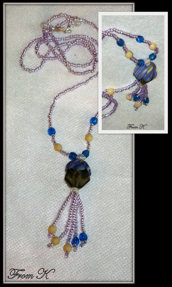 Everyday wear, casual wear #necklace. Czech crystals and seed beads are used as well as #polymer #clay hand marbled 8 petaled flowers fitted perfectly on top of the crystal. Around 60 cm long (for details see this items in my albums https://www.facebook.com/BeadsFromK/photos)