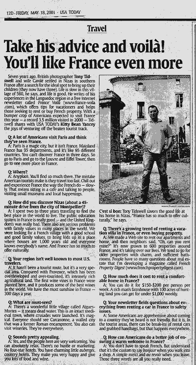 An Old USA Today feature about us in France