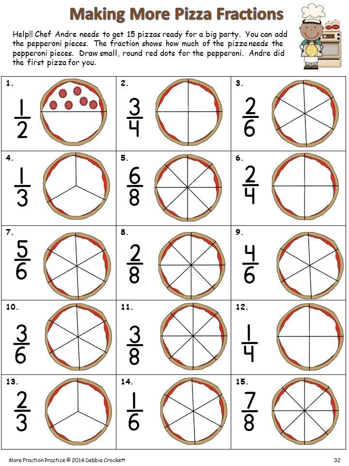 Make a fraction pizza---Fraction Fun, Crockett's Classroom.