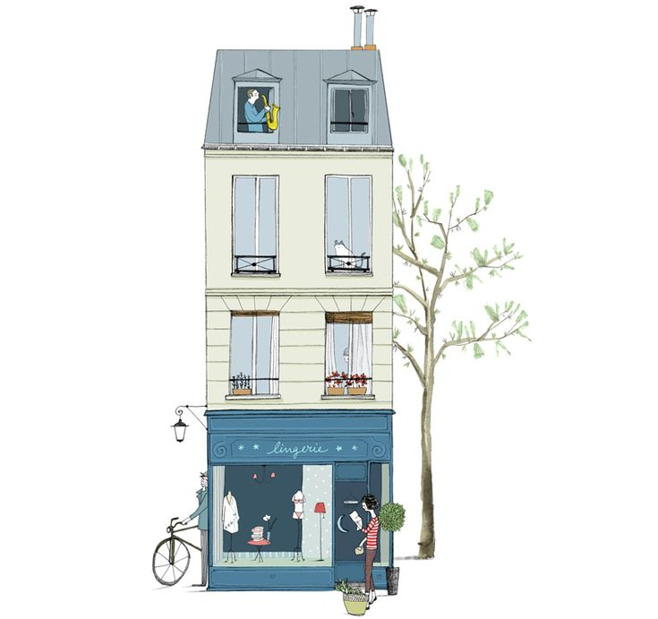 """Alicia Varela, Illustration for the project """"Postcards from Paris""""."""