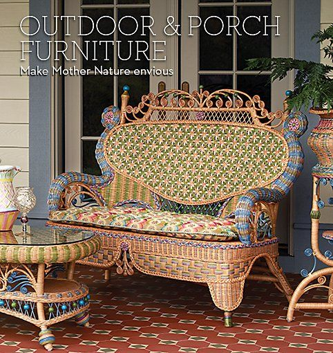 Have you ever seen more beautiful wicker? Never! (MacKenzie-Childs)