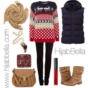 Festive Casual Christmas Outfit With the Gold Crush Hijab from HijabBella