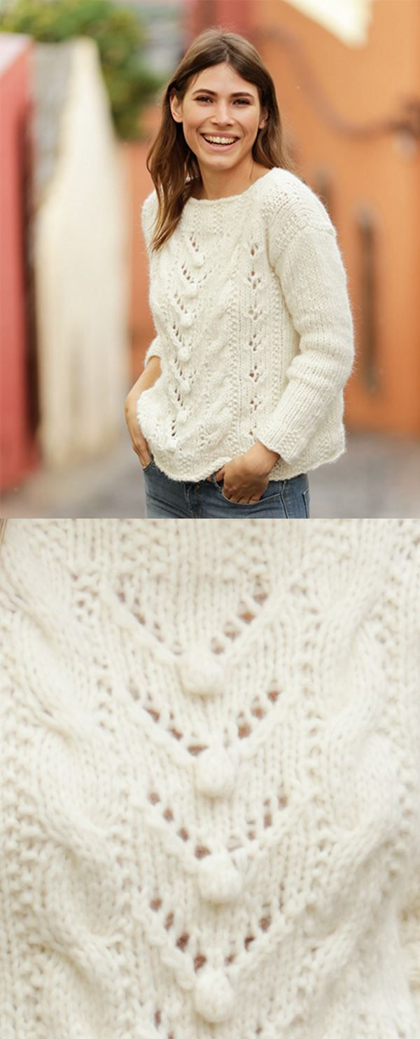 Free Knitting Pattern For A Bobble Lace And Cable Sweater Knitting Bee Lace Knitting Patterns Easy Sweater Knitting Patterns Jumper Knitting Pattern