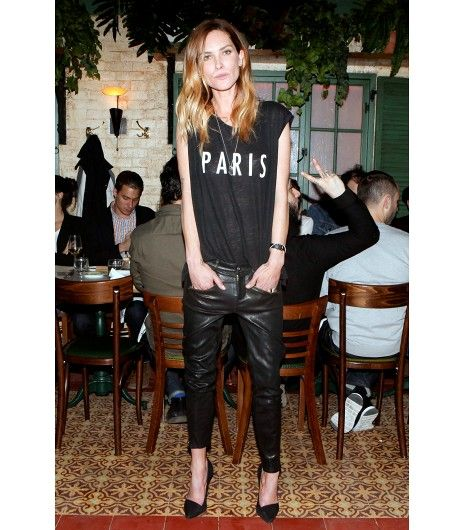 @Who What Wear - Erin Wasson                 T-Shirt + Leather Trousers     Get the look: Ladison You Made My Day Roll Up Sleeve Tee Shirt ($66) in Black; Topshop Boutique Leather Trousers  ($500) in Black