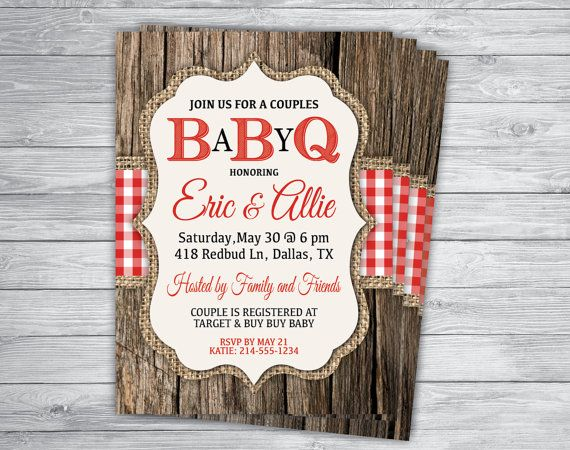 RED GINGHAM BBQ Baby Shower Any Event or Color Rustic Wood Burlap Country Wedding Engagement Rehearsal Barbecue Picnic Invitation Printed
