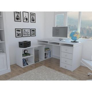 Classic Design White Wood 4-door L-Shaped Corner Desk