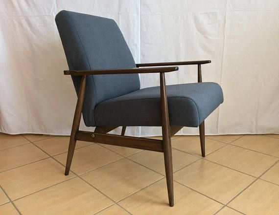 Mid Century Modern Armchair Lounge Navy Blue Chair Handmade