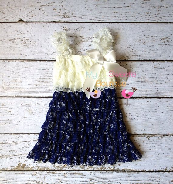 Ivory and Navy dress, newborn dress, Lace dress, baby girl outfit, infant outfit, flower girl dress, toddler dress, girls dress on Etsy, $24.95