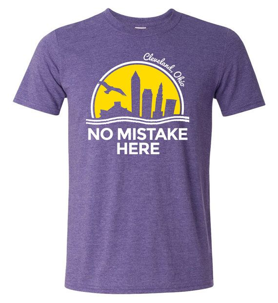 No Mistake Here T-Shirt Heather Purple  Keywords: Cleveland, Ohio, TShirt, Tee, Sunset, Sunrise, Lake, Lake Erie, Summer, Mistake on the Lake, No Mistake Here, CLE, This is CLE