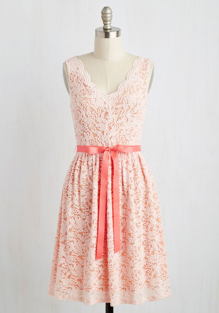Hamptons of Fun Dress in Petal. Everyone will be impressed by your poise and panache when you hobnob your way through the seasons ritziest affair in this magnificent lace dress - arriving in March. #pink #modcloth