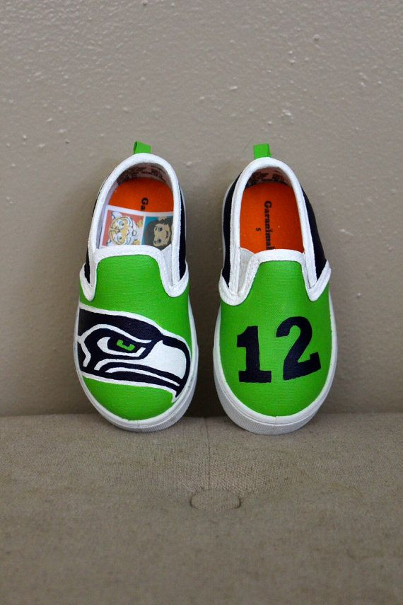 So adorable! Children's Seahawks Shoes. My grandchildren will look so cute in these! Go SeaHawks! xoxo