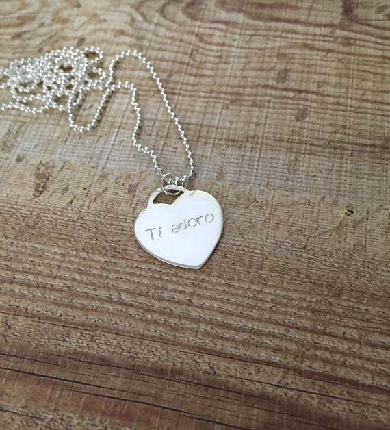 Custom Stamped Heart  Sterling Silver Necklace  Handstamped