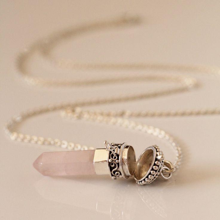 Collar medallón de cuarzo rosa collar de cuarzo rosa, medallón de plata…