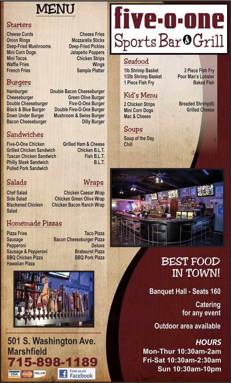 Five-O-One Sports Bar & Grill Restaurant Menu Marshfield WI