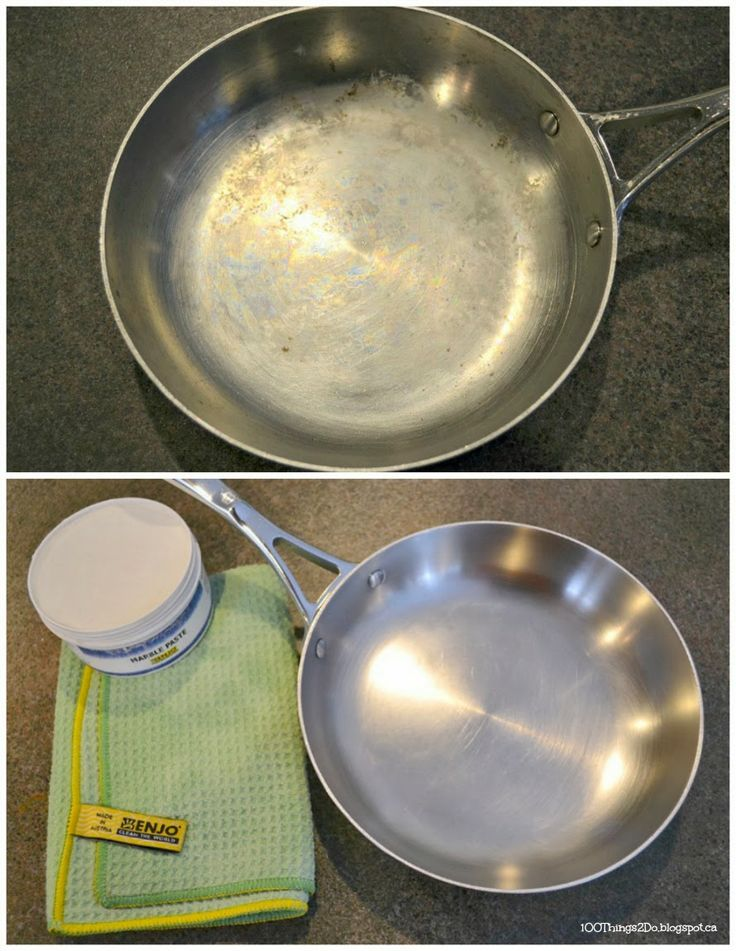 Cleaning a fry pan with ENJO marble paste.