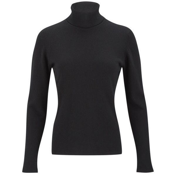 Knutsford Women's Roll Neck Cashmere Sweater - Black (275 AUD) ❤ liked on Polyvore featuring tops, sweaters, black, wool cashmere sweater, roll neck jumper, cashmere jumper, roll-neck sweaters and cashmere tops