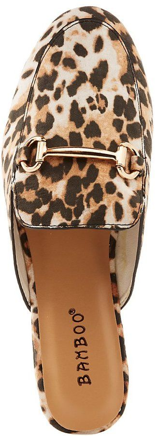 Charlotte Russe Bamboo Leopard Metal Buckle Loafer Mules