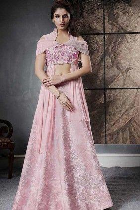 collection de #lehenga #wedding en ligne – bébé en soie jacquard couleur rose leh …