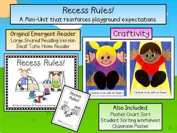 This cute Back to School Recess Rules! Emergent Reader and Craftivity packet provides a cute and meaningful way to reinforce playground expectations.