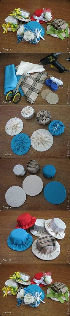 DIY Cute Hat Hairclip from Plastic Cap or a cute pincushion