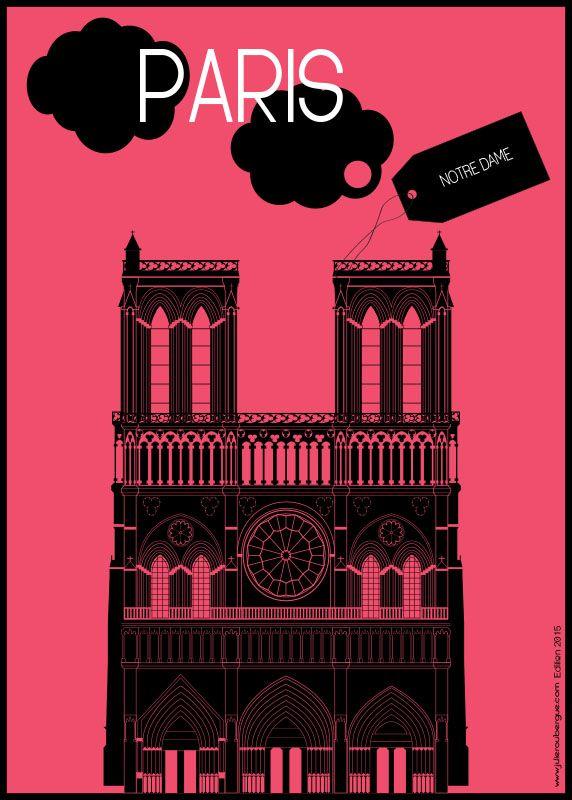 Notre Dame Magenta - Poster 50x70cm or 30x40cm