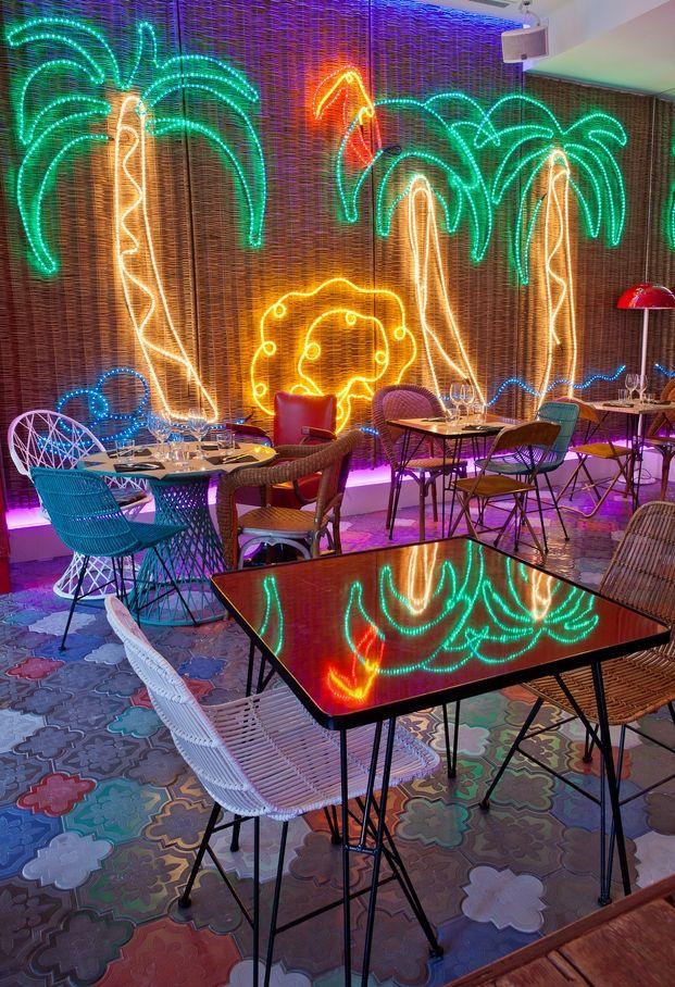 Bananas - Barcelona - neon palm  trees