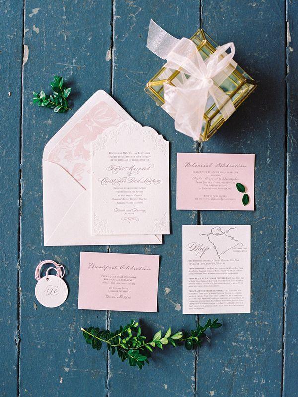 pink wedding invitation - photo by Nancy Ray Photography http://ruffledblog.com/mountain-estate-wedding-in-north-carolina