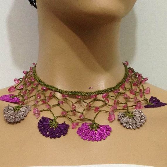 PurplePinkish Plum and Beige Choker Necklace with by istanbuloya