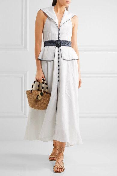 Gül Hürgel - Backless Satin-trimmed Linen Midi Dress - White - x small