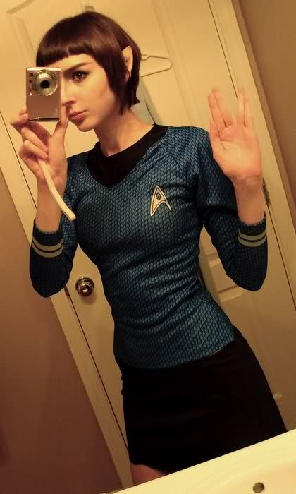 Nerd.  You're doing it right.  [Girl in Star Trek costume (selfie); as Vulcan in blue Starfleet uniform hand signing the Vulcan greeting.] ( via Ben Tammi)