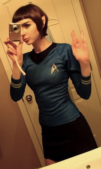 Nerd.  You're doing it right.  [Girl in Star Trek costume (selfie); as Vulcan in blue Starfleet uniform hand signing the Vulcan greeting.] ( via Ben Tammi)