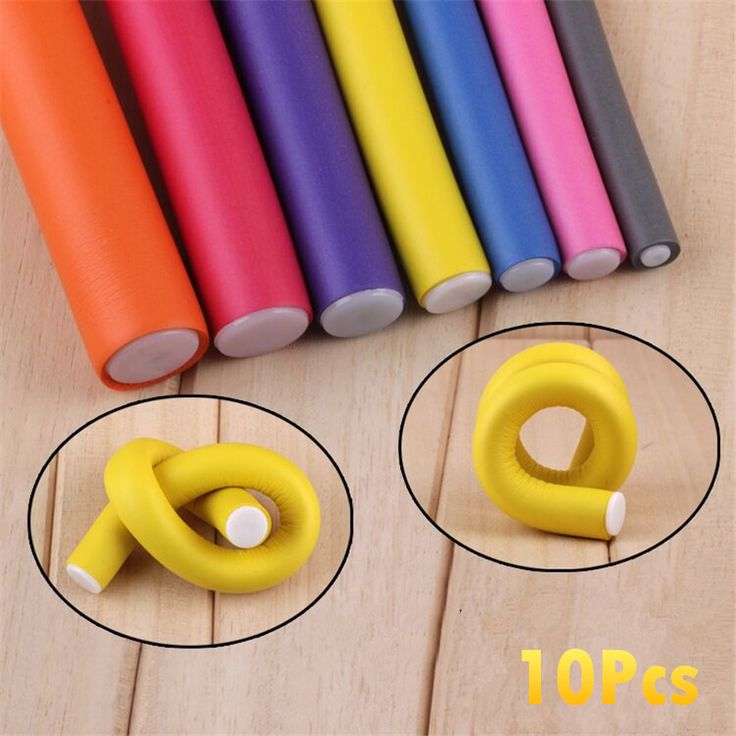 10Pcs 0.8-2CM Soft Foam Hair Curling Flexi Rods DIY Hair Rollers Bendy Hair Flexi Rods Magic Curler Random Color
