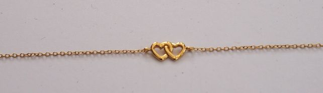 GOLD VERMEIL DOUBLE HEART BRACELET.GIFTS FOR HER..ANNIVERSARY GIFTS. £32.00