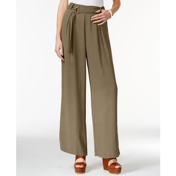 Jessica Simpson Kegan Belted Wide-Leg Soft Pants (£25) ❤ liked on Polyvore featuring pants, burnt olive, military green pants, green camo pants, olive pants, army green pants and olive green pants