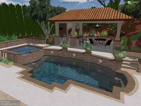 Pools on a sloped lot swimming pool landscape ideas for Pool design on a slope